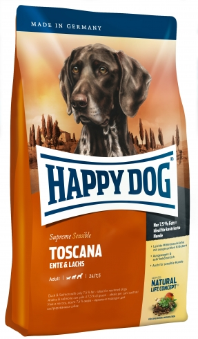 HAPPY DOG Supreme Sensible Toscana 12,5kg+pojemnik na karmę GRATIS